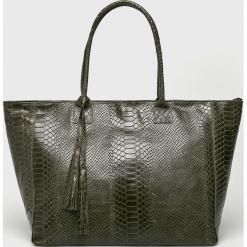 Answear - Torebka skórzana. Szare torebki klasyczne damskie ANSWEAR, w paski, z materiału, duże. W wyprzedaży za 159,90 zł.