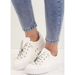 Białe Buty Sportowe Zip-On. Białe buty sportowe damskie Born2be. Za 69,99 zł.