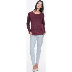 Bluzy damskie: Bordowa Bluza Swetrowa na Suwak z Falbanką
