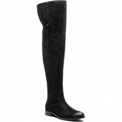 Muszkieterki EVA MINGE - Torremoli 4N 18BD1372650EF 801. Czarne buty zimowe damskie Eva Minge, z materiału, przed kolano, na wysokim obcasie, na obcasie. W wyprzedaży za 519,00 zł.