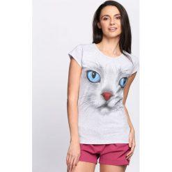 Szary T-shirt Cat Features. Szare bluzki damskie marki Born2be, l. Za 19,99 zł.