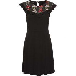 Sukienki hiszpanki: Sukienka z dżerseju z haftowanymi aplikacjami bonprix czarny