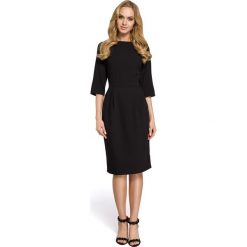 SYDNEY Sukienka z zakładkami - czarna. Czarne sukienki balowe Moe, do pracy, z klasycznym kołnierzykiem, midi, dopasowane. Za 139,99 zł.