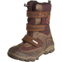 Kozaki zimowe w kolorze brązowym. Niebieskie buty zimowe chłopięce marki geox kids, z gumy. W wyprzedaży za 135,95 zł.