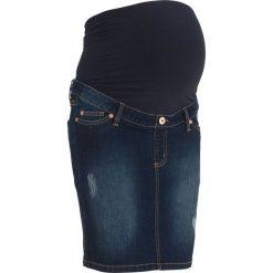"""Spódnica ciążowa dżinsowa """"super-stretch"""" bonprix ciemny denim. Niebieskie spódnice ciążowe marki bonprix, w paski, z denimu, moda ciążowa. Za 59,99 zł."""