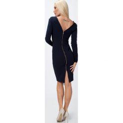 Sukienka ze złotym suwakiem granatowa 65000. Czarne sukienki marki Fasardi, m, z dresówki. Za 84,00 zł.