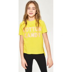 T-shirty damskie: T-shirt z cekinami – Zielony