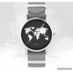 Zegarek - Mapa świata - szary, nato. Szare zegarki męskie Pakamera. Za 129,00 zł.