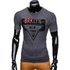 T-shirty męskie: T-SHIRT MĘSKI Z NADRUKIEM S939 – GRAFITOWY
