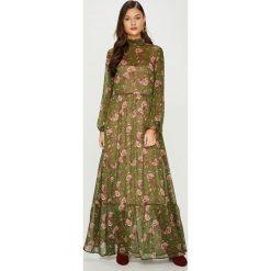 Answear - Sukienka Heritage. Brązowe długie sukienki ANSWEAR, l, z tkaniny, eleganckie, ze stójką, z długim rękawem, proste. W wyprzedaży za 239,90 zł.