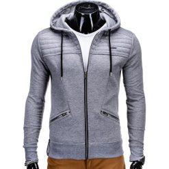 Bluzy męskie: BLUZA MĘSKA ROZPINANA Z KAPTUREM B550 - SZARA