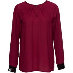 Bluzka bonprix ciemnoczerwony. Czerwone bluzki wizytowe marki bonprix, eleganckie. Za 89,99 zł.