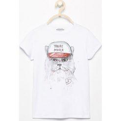 T-shirt z kotem - Biały. Białe t-shirty damskie marki Reserved, l, z dzianiny. Za 29,99 zł.