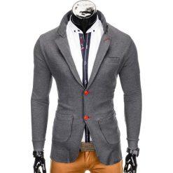 Swetry klasyczne męskie: SWETER MĘSKI E107 – GRAFITOWY