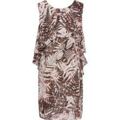 Sukienki: Sukienka z narzutką bonprix brązowo-jasnoróżowy z nadrukiem