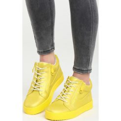 Żółte Sneakersy I Promise You. Pomarańczowe sneakersy damskie marki Born2be, z materiału. Za 89,99 zł.