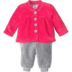 Bluza rozpinana niemowlęca z polaru + spodnie z polaru (2 części) bonprix różowy hibiskus - szary. Czerwone bluzy niemowlęce marki bonprix, z polaru, długie. Za 32,99 zł.
