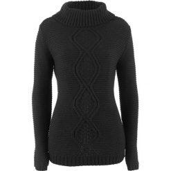 Sweter z warkoczem bonprix czarny. Czarne swetry klasyczne damskie bonprix. Za 74,99 zł.