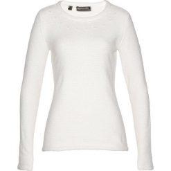Swetry klasyczne damskie: Sweter bonprix biel wełny