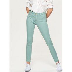 Spodnie damskie: Spodnie high waist skinny – Turkusowy