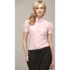 Różowa Koszulowa Bluzka z Kontrastowymi Guzikami. Czerwone bluzki koszulowe marki Molly.pl, xxl, z bawełny, eleganckie, z krótkim rękawem. Za 87,90 zł.