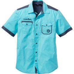 Koszula z krótkim rękawem bonprix morski. Niebieskie koszule męskie na spinki bonprix, m, z haftami, z kontrastowym kołnierzykiem, z krótkim rękawem. Za 37,99 zł.