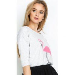 Jasnoszara Bluzka Shiny Flamingo. Różowe bluzki longsleeves marki Born2be, m. Za 39,99 zł.