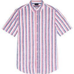 Koszule męskie: Koszula w paski z krótkim rękawem Regular Fit bonprix czerwono-piaskowo-niebieski w paski