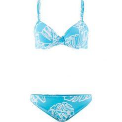 Bikini na fiszbinach (2 części) bonprix turkusowo-biały. Niebieskie bikini bonprix. Za 49,99 zł.