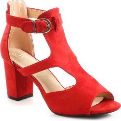 Sandały damskie: Sandały damskie na słupku czerwone Sabatina