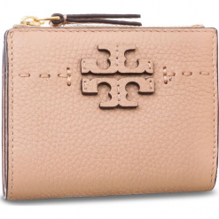 Mały Portfel Damski TORY BURCH - Mcgraw Mini Foldable Wallet 45246 Devon Sand 288. Czerwone portfele damskie Tory Burch, ze skóry. Za 599,00 zł.