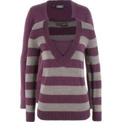 Sweter (2 szt. w opak.) bonprix czarny bez w paski + czarny bez. Fioletowe swetry oversize damskie marki DOMYOS, l, z bawełny. Za 89,98 zł.