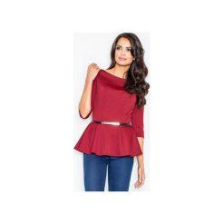 Bluzka M417 Bordo. Czerwone bluzki damskie FIGL, m, z jeansu, eleganckie, z dekoltem w łódkę. Za 109,00 zł.