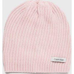 Calvin Klein - Czapka. Szare czapki damskie marki Calvin Klein, na zimę, z bawełny. Za 139,90 zł.