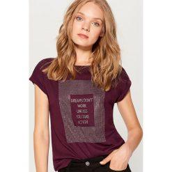 Koszulka z dżetami - Bordowy. Czerwone t-shirty damskie Mohito, l. Za 39,99 zł.