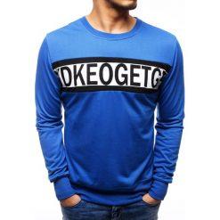 Bluzy męskie: Bluza męska z nadrukiem niebieska (bx3506)
