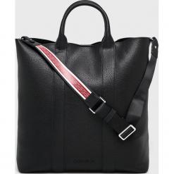 Calvin Klein - Torebka. Czarne shopper bag damskie Calvin Klein, w paski, z materiału, do ręki, duże. Za 699,90 zł.
