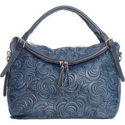 Torebki klasyczne damskie: Skórzana torebka w kolorze granatowym – 38 x 35 x 16 cm
