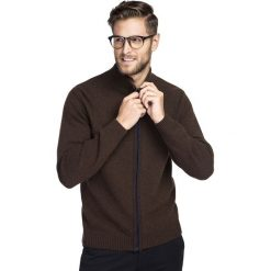 Sweter TOMASSO SWK000011. Brązowe swetry rozpinane męskie Giacomo Conti, m, z wełny, klasyczne, z klasycznym kołnierzykiem. Za 199,00 zł.