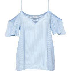 Must-have: bluzka z odsłoniętymi ramionami bonprix jasnoniebiesko-biel wełny w paski. Niebieskie bluzki asymetryczne bonprix, w paski, ze skóry, ze sznurowanym dekoltem. Za 59,99 zł.