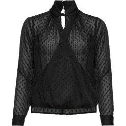 Bluzka kopertowa bonprix czarny. Czarne bluzki asymetryczne bonprix, eleganckie, z kopertowym dekoltem. Za 89,99 zł.