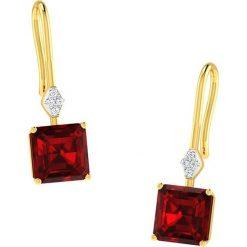 Kolczyki damskie: Złote kolczyki z diamentami i syntetycznymi rubinami