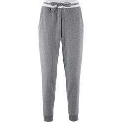 Spodnie dresowe damskie: Spodnie dresowe z paskami, krótsze nogawki bonprix szary melanż