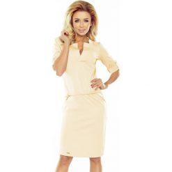 DOROTA - Sukienka z kołnierzykiem - KREMOWA. Białe sukienki hiszpanki numoco, s, sportowe, z kwadratowym dekoltem, sportowe. Za 139,99 zł.