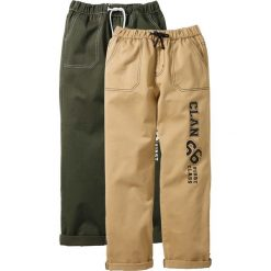 Odzież dziecięca: Luźne spodnie chino (2 pary) bonprix ciemnooliwkowy + jasny khaki