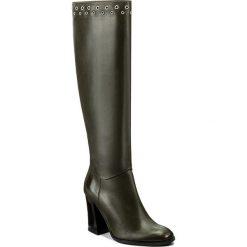 Kozaki EVA MINGE - Izabelle 2P 17SF1372248EF  115. Zielone buty zimowe damskie Eva Minge, ze skóry, przed kolano, na wysokim obcasie. W wyprzedaży za 349,00 zł.
