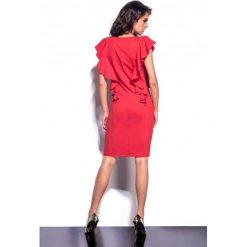 Sukienki: Elegancka sukienka z falbankami czerwony