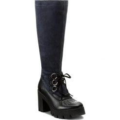 Kozaki EVA MINGE - Leonor 2R 17SM1372225EF 107. Niebieskie buty zimowe damskie Eva Minge, z nubiku, przed kolano, na wysokim obcasie, na obcasie. W wyprzedaży za 329,00 zł.