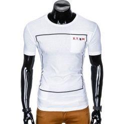T-shirty męskie: T-SHIRT MĘSKI Z NADRUKIEM S954 - BIAŁY