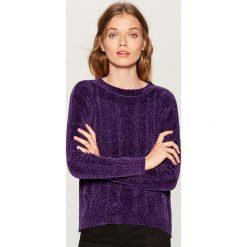 Szenilowy sweter - Fioletowy. Fioletowe swetry klasyczne damskie marki DOMYOS, l, z bawełny. Za 99,99 zł.